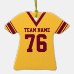 School Football Jersey Gold and Maroon Ornament