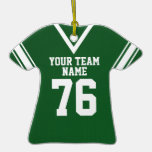 School Football Jersey Green Christmas Tree Ornaments