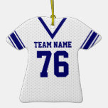 School Football Jersey White and Blue Christmas Ornaments