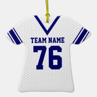 School Football Jersey White and Blue Double-Sided T-Shirt Ceramic Christmas Ornament