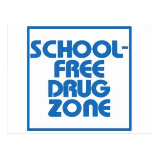 School-Free Drug Zone JOKE SIGN Postcard