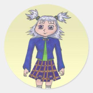 School Girl Anime Art Gallery Character Classic Round Sticker