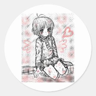 school girl classic round sticker
