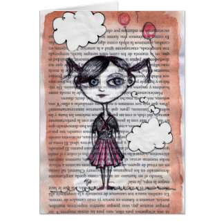 School girl - collage, drawing greeting cards