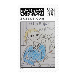 School Girl Postage Stamp