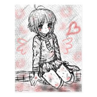 school girl postcard