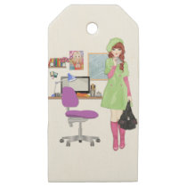 School Girl Wooden Gift Tags