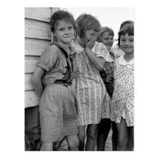 School Girls in Great Depression, 1930s Postcard