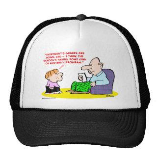 school grades down austerity program mesh hat