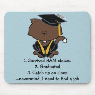 School Graduation Cap and Gown Cat Mousepad