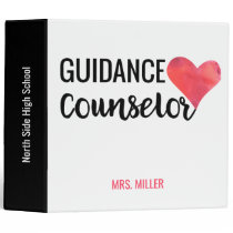 School Guidance Counselor Personalized Red Heart Binder