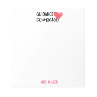 School Guidance Counselor Personalized Red Heart Notepad