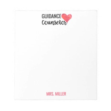 Valentines Themed School Guidance Counselor Personalized Red Heart Notepad