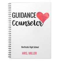 School Guidance Counselor Personalized Watercolor Notebook