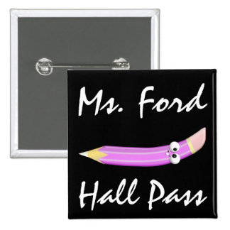 School Hall Pass - Pencils -  SRF 2 Inch Square Button