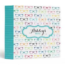 School Hipster Glasses Pattern Trendy Binder
