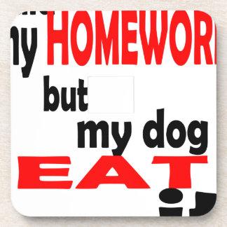 school homework summer quote diligent lazy dog bla beverage coaster