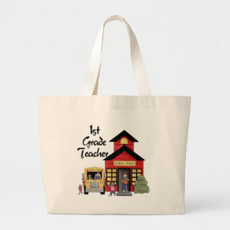 School House 1st Grade Teacher T-shirts and Gifts Large Tote Bag