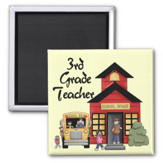 School House 3rd Grade Teacher Tshirts and Gifts 2 Inch Square Magnet