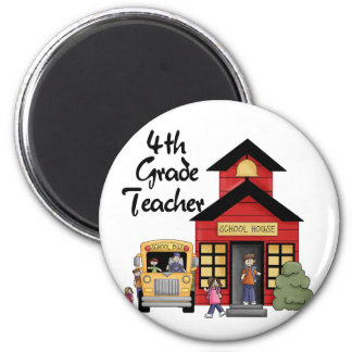 School House 4th Grade Teacher Tshirts and Gifts Fridge Magnets
