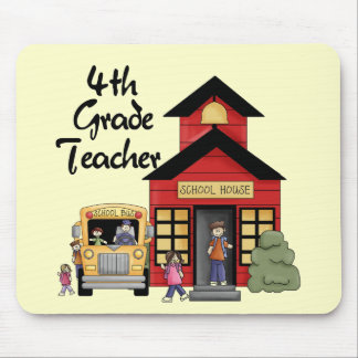 School House 4th Grade Teacher Tshirts and Gifts Mouse Pads