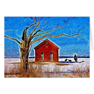 School House in the Snow Greeting Card