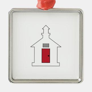 School House Silver-Colored Square Ornament