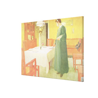 School Household, Dining Room Scene, pub. in 'Lass Canvas Print