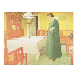 School Household, Dining Room Scene, pub. in 'Lass Postcard
