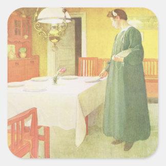 School Household, Dining Room Scene, pub. in 'Lass Square Sticker
