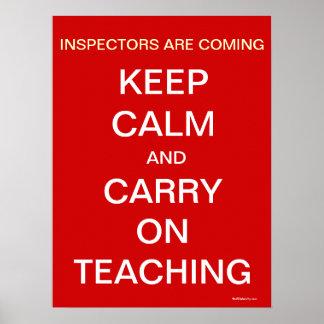 School Inspectors Keep Calm Funny Teacher Quote Poster