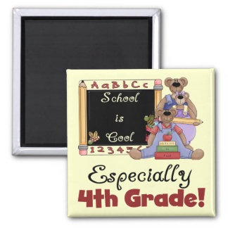 School is Cool 4th Grade Tshirts and Gifts 2 Inch Square Magnet