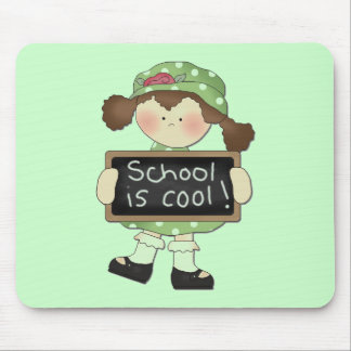 School is Cool Brunette Girl Tshirts and Gifts Mouse Pad