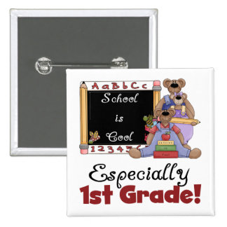 School is Cool Especially 1st Grade 2 Inch Square Button
