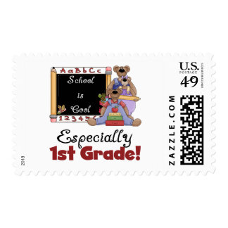 School is Cool Especially 1st Grade Stamp