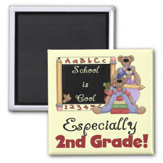 School is Cool Especially 2nd Grade 2 Inch Square Magnet