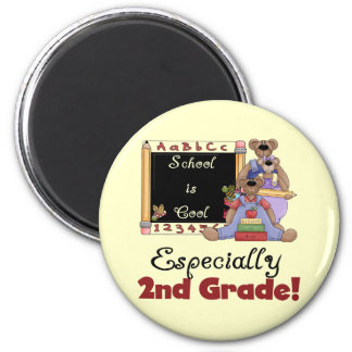 School is Cool Especially 2nd Grade 2 Inch Round Magnet