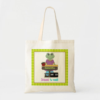 School is cool! Frog at her desk Back to school Budget Tote Bag