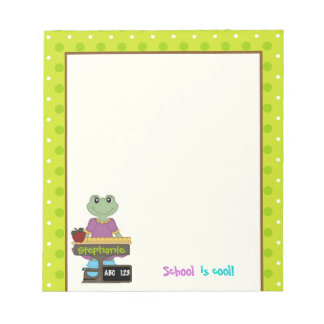 School is cool! Frog at her desk Back to school Notepad