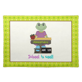 School is cool! Frog at her desk Back to school Cloth Place Mat