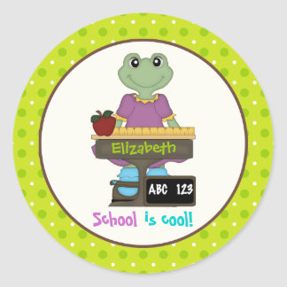 School is cool! Frog at her desk Back to school Classic Round Sticker
