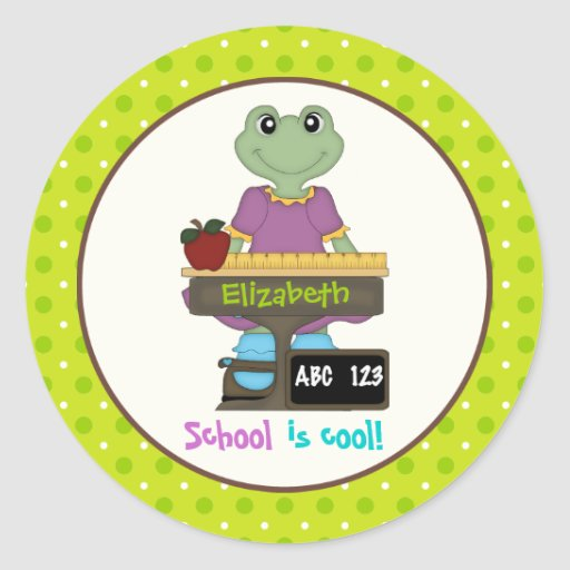 School is cool! Frog at her desk Back to school Stickers