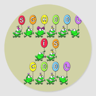 School is Cool - Frogs Classic Round Sticker