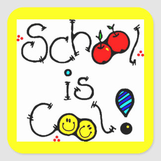 SCHOOL IS COOL FUN COLOURFUL HAPPY FACES APPLES SQUARE STICKER