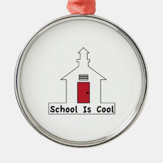 School is Cool Silver-Colored Round Ornament