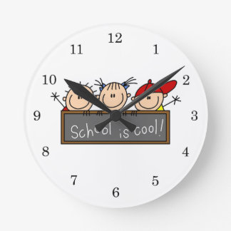 School is Cool Round Clock