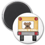 School is Cool School Bus 2 Inch Round Magnet