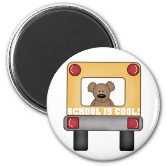 School is Cool School Bus 2 Inch Round Magnet
