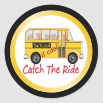 School is Cool School bus Classic Round Sticker