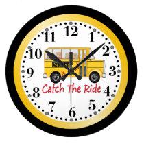 School is Cool School bus Large Clock